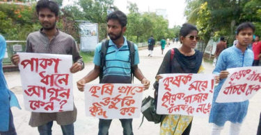 Students form human chain seeking justified price for paddy, receive show cause notice from university
